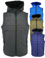 New Mens Quilted Body Warmer Gilet Hooded Padded Vest Sleeveless Jacket