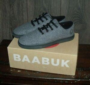 Baabuk 100% Wool Sneaker SIZE EU 44 (US 10.5) Grey/Black NEW Condition