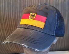 Distressed Trucker Hat Low Profile Cotton Mesh German Flag Baseball Cap
