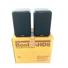 Boston Acoustics HD5 Black Bookshelf Speakers Tested Working W/ Box Mint!