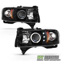 Blk 1994-2001 Dodge Ram 1500 94-02 2500 3500 LED Halo Projector Headlights Pair