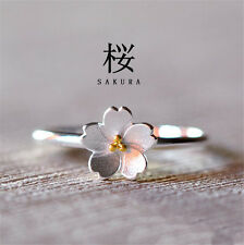 1PC Lovely Open Ring Elegant Woman Sakura Beautiful Flowers Fashion Finger Ring