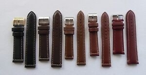 SALE - LEATHER STRAP / WHITE STITCHING BLACK/BROWN18-24MM FOR BREITLING/HAMILTON
