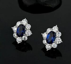 3.50Ct Oval Cut Blue Sapphire & Diamond Halo Stud Earrings 14K White Gold Over