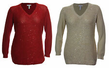 Charter Club 0X 1X 2X 3X Red or Beige Sequin Long Sleeve V-Neck Sweater NWT F/S