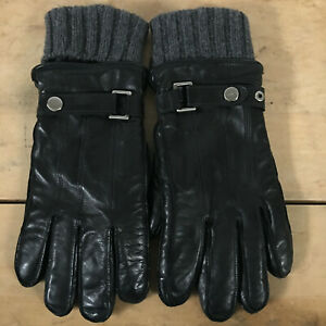Coach Men's Black Sheepskin Leather Wool Cashmere Gray Lined FLAW Gloves Small