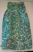 NWT Women's Ann Taylor LOFT Linen Rayon Aqua Ivory Pleated Skirt Size 6 Career