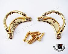 """Accordion Shoulder Strap Brackets Gold Clasp """"Half Moon"""" Style Imported"""