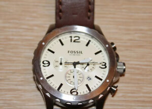 FOSSIL Nate Chronograph Silver Dial Brown Leather Strap Men's Watch JR1473
