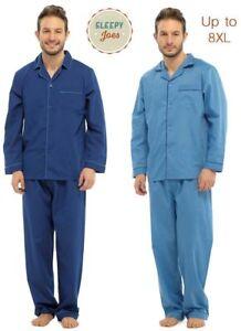 Mens Easy Iron Big SIze Poly Cotton Traditional Pyjama PJ Set 4XL- 8XL 2 colours