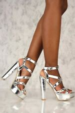 Sexy Strappy Metallic Open Toe High Chunky Heels Platform Pump Sandals Size H206