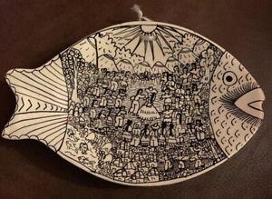 Plato Pez Barro Hist. Med Decorative Ceramic Fish Plate Hand Made In Mexico