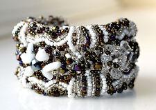 Beaded Bracelet Wide Guatemalan White Silver Adjustable Flower Handmade