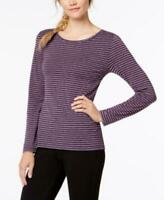 Ideology Women's Ballet Wrap Striped Logn Sleeve Top Purple Size XL