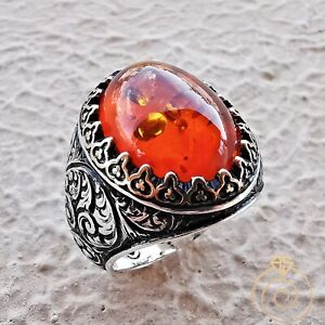 Mens Amber Engagement Ring Fire Stone Vintage Silver Engraved Viking Art Jewelry