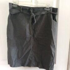Eileen Fisher Womans Gray Skirt Linen Blend Belted Straight Size 12