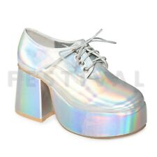 Mens Womens Platform Disco Saturday Night Fever Silver Black White Shoes