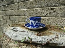 More details for antique adderley ware old willow ceramic blue and white cup and saucer