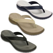 Crocs Capri V Flip Flops Womens Leather Slip On Summer Toe Post Thong Sandals