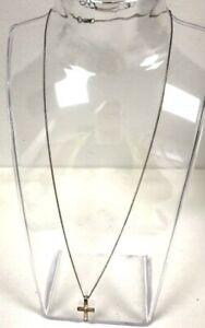 "925 Silver Crucifix Pendant With Round Cut Diamond & 18"" Fine Curb Chain Boxed"