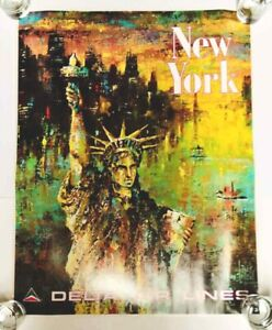 Vintage 1970s Delta Airlines TRAVEL POSTER NEW YORK  JACK LAYCOX dated 5/75 NEW
