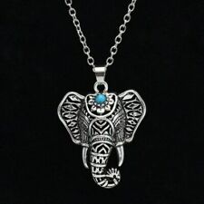 Elephant Necklace Ethnic Vintage Boho Indie Lucky Turquoise Pendant Hippie