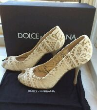 Dolce & Gabbana Ladies cream lace peep toe size EU 39 high heel Shoes