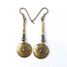 Brass Drum Earrings Dangle Native Inspired Beaded Turquoise Sun Burst Disc
