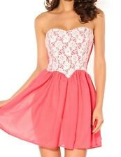 Sexy Strapless Dress Pink White Lace Mini Formal Cocktail Evening Glamourous Fun