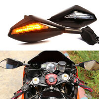 Motorcycle LED Turn Signal Rearview Mirrors For Yamaha YZF R6 YZF R1 2000-2008