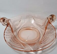 Vintage Pink Depression Glass Double Handle Swan Serving Bowl Candy Dish