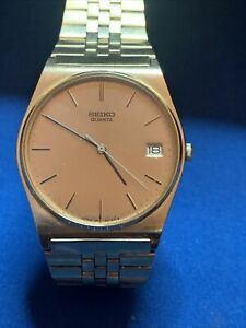 Vintage Seiko Japan Gold Tone Quartz watch with Bracelet 7812 8039 Running
