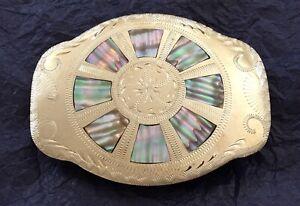 Vintage 💥 ABALONE WHEEL 💥 Johnson Held 🇺🇸 American Handcrafted BELT BUCKLE