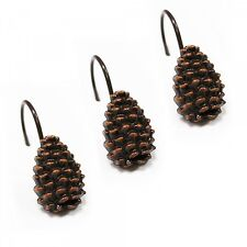 PINECONE Shower Curtain Hooks Brown Pine Cone & Hook SET of 12 NEW