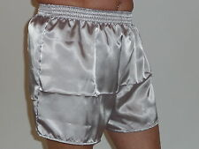 gris argenté brillant poly satin SHORT BOXER M