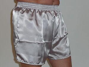 Silver Grey Glossy Poly Satin Boxer Shorts Large