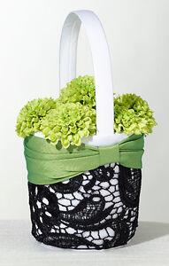 flower girl basket green & black flower basket wedding basket