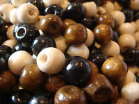 200 WOODEN WHITE / BLACK / BROWN MIX ROUND WOOD BEADS 8MM WIDE 7MM HIGH 3MM HOLE