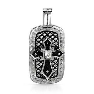 Cross Dog Tag Pendant W/1.30ctw CZ in Black Enamel and Stainless steel.