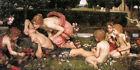 Huge Oil painting J. W. Waterhouse - The Awakening of Adonis with angels flowers