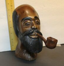 VINTAGE AFRICAN CARVING--MALE HEAD SMOKING A PIPE BY O KERR JAN 19, 1977