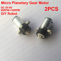 2pcs DC 3V 5V 6V 120rpm Micro Planetary Gearbox Mini Gear Motor DIY Robot Model