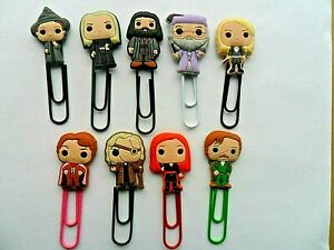 Lovely Set of  NINE Harry Potter  Bobblehead Cartoon Bookmark Paperclips