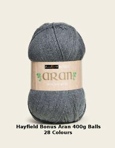 Hayfield Bonus Aran with 20% Wool 400g various colours