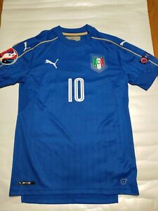 Italy National Team Baggio Authentic Jersey Puma Autograph No COA Size S #10