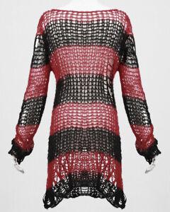 Punk Rave Shredded Knit Sweater Top Black Red Stripe Goth Distressed Grunge