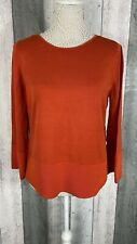 COS Orange 100% Cotton Ribbed Cuff Hem Pullover Jumper Size M