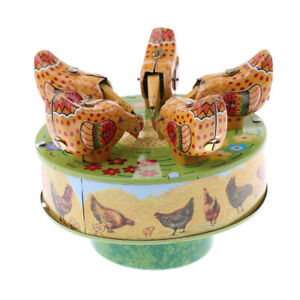 Vintage Mechanical Clockwork Wind Up Pecking 5 Chicken Collectable Tin Toy Home