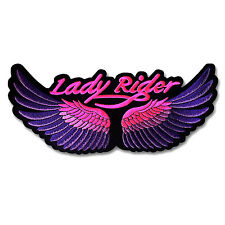 "11"" BIg Patch Lady Rider Wings Biker Motorcycle Chopper Vest Jacket Women Club"