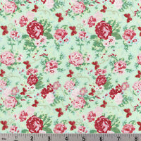 Woodland Rose Shabby Mint Green Pink Cotton Fabric Lecien Japan Gold Accent